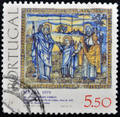 PORTUGAL - CIRCA 1979: A stamp printed in Portugal in Tile Museum Lisbon, a set of tiles depicting the Holy Family, 1630, Casa Pia de Lisboa, circa 1979. — Stock Photo