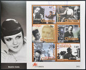 PORTUGAL - CIRCA 1996: A stamp printed in Portugal shows a set of pictures of actors to commemorate the centenary of cinema in Portugal, circa 1996 — Stock Photo