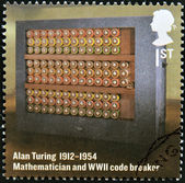 UNITED KINGDOM - CIRCA 2012: A stamp printed in Great Britain shows mathematician and WWII code breaker, Alan Turing, circa 2012 — Stock Photo