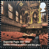UNITED KINGDOM - CIRCA 2012: A stamp printed in Great Britain shows Interior of the House of Lords, Augustus Pugin, circa 2012 — Stock Photo