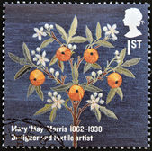 UNITED KINGDOM - CIRCA 2012: A stamp printed in Great Britain shows Mary 'May' Morris textile design, circa 2012 — 图库照片