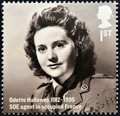UNITED KINGDOM - CIRCA 2012: A stamp printed in Great Britain shows Odette Hallows, SOE agent in occupied France, circa 2012 — Stock Photo
