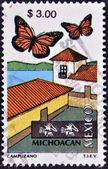 MEXICO - CIRCA 1997: A stamp printed in Mexico dedicated to Michoacan, lepidoptera, circa 1997 — Stok fotoğraf
