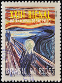 BRAZIL-CIRCA 1996: A stamp printed in Brazil shows the 23 International Biennial of Sao Paulo, The Scream by Edvard Munch work,circa 1996 — Stock Photo