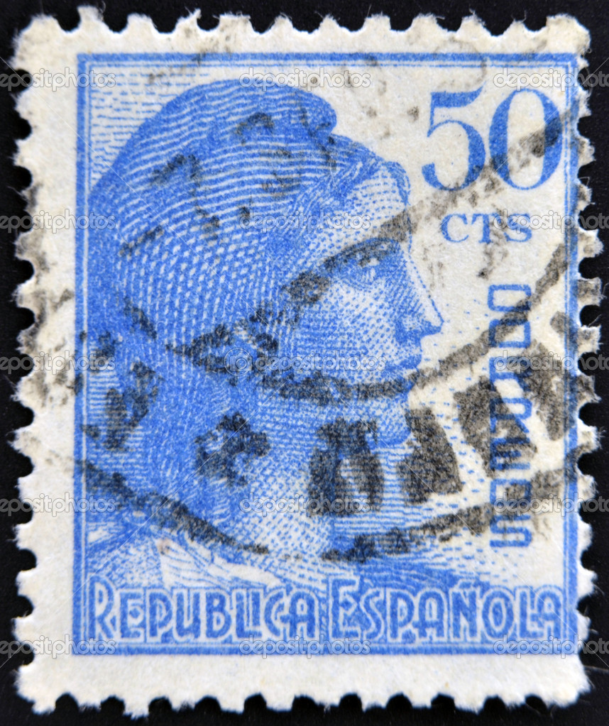 SPAIN - CIRCA 1933: A stamp printed in Spanish republic shows Allegory of the Second Spanish Republic (the Mariana Hispanic), circa 1933  Stock Photo #11417836
