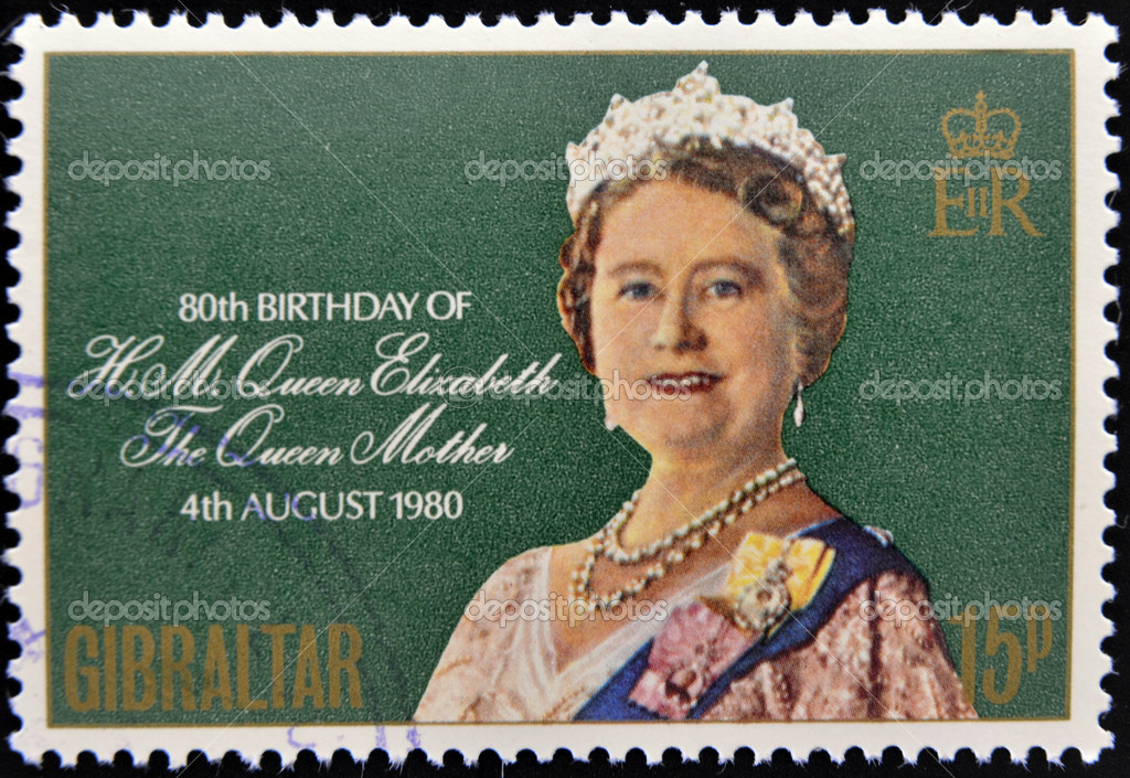 GIBRALTAR - CIRCA 1980: A stamp printed in Gibraltar shows portrait of the  Queen Elizabeth commemorates the 80th birthday of the Queen Mother, circa 1980 — Stock Photo #11417861
