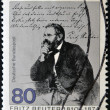 Stock Photo: GERMANY - CIRC1985: stamp printed in Germany, shows portrait novelist Fritz Reuter , circ1985.