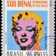 Stock Photo: BRAZIL-CIRCA 1996: A stamp printed in Brazil shows the 23 International Biennial of Sao Paulo,portrait of Marilyn Monroe by Andy Warhol,circa 1996