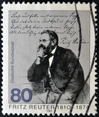 GERMANY - CIRCA 1985: stamp printed in Germany, shows portrait novelist Fritz Reuter , circa 1985. — Stock Photo