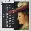 GERMANY - CIRCA 2006: A stamp printed in Germany shows image commemorating the life of Rembrandt, circa 2006 - Foto de Stock  