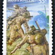 Royalty-Free Stock Photo: AUSTRALIA - CIRCA 2010: stamp printed in Australia shows Australian troops on the Kokoda Track, circa 2010.