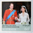 AUSTRALI- CIRC2011: stamp printed in Australishows image of Prince Williams and Kate Middleton royal wedding, circ2011. — Stock Photo #11611309