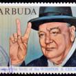 Постер, плакат: BARBUDA CIRCA 1974: A stamp printed in Barbuda dedicated to centenary of the birth of Sir Winston S Churchill circa 1974