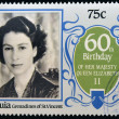 BEQUIA - CIRCA 1986: A stamp printed in Grenadines of St. Vincent celebrating 60th birthday of her majesty Queen Elizabeth II, circa 1986 — Stock Photo