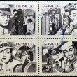 BRAZIL - CIRC1990: Four stamps dedicated to Brazilicinema, shows Adhemar Gonzaga, Carmen Miranda, Carmen Santos and Oscarito, circ1990 — Stock Photo #11611356