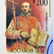 Постер, плакат: CHILE CIRCA 1993: A stamp printed in chile commemorates the 400 years since the arrival of the Jesuits in Chile shows St Ignatius of Loyola circa 1993