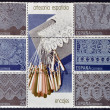 SPAIN - CIRCA 1989: Collection stamps dedicated to the Spanish craft shows different types of lace, circa 1989 - Stock Photo