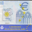 Stock Photo: SPAIN - CIRC2009: stamp printed in Spain dedicated to tenth anniversary of creation of euro, circ2009