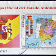 SPAIN - CIRCA 1996: A stamp printed in Spain shows the official map of Spain with the Autonomous Communities, circa 1996 - Stock Photo