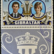 Stock Photo: GIBRALTAR - CIRC1981: stamp printed in Gibraltar celebrating Royal Wedding of Prince Charles and Lady DianSpencer, circ1981