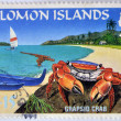 SOLOMON ISLANDS - CIRCA 2000: A stamp printed in Solomon islands shows a grapsid crab on a beach paradise, circa 2000 — Stock Photo #11611425