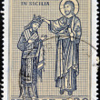 ITALY - CIRCA 1974: A stamp printed in the Italy shows The blessing art show in Norman Sicily, circa 1974 — Stock Photo