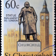 ST CHRISTOPHER NEVIS ANGUILLA - CIRCA 1974: A stamp printed in St Christopher Nevis & Anguilla shows Winston Churchill statue placed in Parliament Square London, stamp commemorating the centenary — Stock Photo