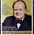 Постер, плакат: ST CHRISTOPHER NEVIS ANGUILLA CIRCA 1974: A stamp printed in St Christopher Nevis & Anguilla shows a portrait of Winston Churchill Prime Minister 1940 45 and 1951 55 stamp commemorating the ce