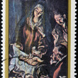 "NICARAGU- CIRC1983: Stamp printed in NICARAGUshows painting ""Adoration Shepherds"" by El Greco, circ1983 — Stock Photo #11611524"