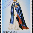 PITCAIRN ISLANDS - CIRCA1977: A stamp printed in Pitcairn islands shows a portrait of the Queen Elizabeth II with cape, crown and scepter, circa 1977 — Stock Photo
