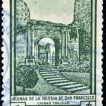 DOMINICAN REPUBLIC - CIRCA 1960: A stamp printed in the Dominican Republic, shows a ruins of the church of St. Francis in Trujillo city, circa 1960 — Stock Photo