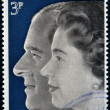 Stock Photo: UNITED KINGDOM- CIRC1972: stamp printed in United Kingdom shows Queen Elizabeth II and Duke of Edinburgh, commemoration their silver wedding anniversary, circ1972