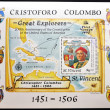 SAINT VINCENT - CIRCA 1986: a stamp was printed in Saint Vincent, shows Christopher Columbus and map of the Antilles, commemoration of 200 anniversary of the creation of the united states of america, - Stock Photo