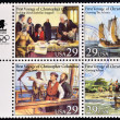 UNITED STATES OF AMERICA - CIRCA 1992: four stamps printed in USA dedicated to first voyage of Christopher Columbus, circa 1992 — Stock Photo