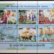 VIETNAM - CIRCA 1992: A stamp printed in Vietnam shows commemorates the 500th anniversary of the discovery of America , circa 1992 - 