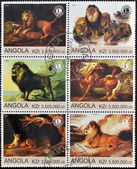 ANGOLA - CIRCA 2000: A collection of stamps printed in Angola shows a scenes from the life of lions, circa 2000. — Stock Photo