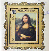 KATHIRI STATE OF SEYYUN - CIRCA 1970: A stamp printed in South Arabia shows Mona Lisa or La Gioconda by Leonardo Da Vinci. Louvre, Paris, France, circa 1970 — Foto Stock
