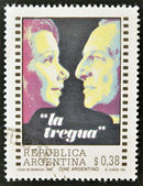 "ARGENTINA - CIRCA 1992: A stamp printed in Argentina dedicated to cinema shows poster for the film ""The Truce"", circa 1992 — Stock Photo"