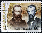 AUSTRALIA - CIRCA 2010: A stamp printed in australia shows Burke and Wills, circa 2010 — Стоковое фото
