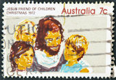 AUSTRALIA - CIRCA 1972: stamp printed in Australia, shows Jesus friend of Children, circa 1972 — Stock Photo