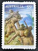 AUSTRALIA - CIRCA 2010: stamp printed in Australia shows Australian troops on the Kokoda Track, circa 2010. — Stock Photo
