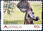 AUSTRALIA - CIRCA 2011: A stamp printed in Australia, shows Australian Aboriginal Child with skin painted in the traditional way, circa 2011 — Stock Photo