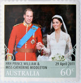 AUSTRALIA - CIRCA 2011: A stamp printed in Australia shows an image of Prince Williams and Kate Middleton royal wedding, circa 2011. — 图库照片