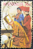 AUSTRALIA - CIRCA 1986: stamp printed by Australia, shows three children dressed as the Magi in the Christmas school function, circa 1986 — Stock Photo
