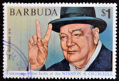 BARBUDA - CIRCA 1974: A stamp printed in Barbuda dedicated to centenary of the birth of Sir. Winston S. Churchill, circa 1974 — Stock Photo