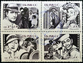 BRAZIL - CIRCA 1990: Four stamps dedicated to Brazilian cinema, shows Adhemar Gonzaga, Carmen Miranda, Carmen Santos and Oscarito, circa 1990 — Foto Stock