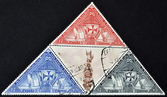 SPAIN - CIRCA 1992: Collection stamps shows Columbus monument and the three calaveras, circa 1992 — Foto Stock