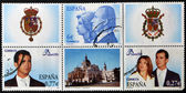 SPAIN - CIRCA 2004: Collection stamps shows Spanish royal family: Juan Carlos I and Sofia, Prince Felipe and Letizia Ortiz, circa 2004 — Stock Photo
