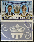 GIBRALTAR - CIRCA 1981: A stamp printed in Gibraltar celebrating the Royal Wedding of Prince Charles and Lady Diana Spencer, circa 1981 — Stock Photo