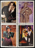 IRELAND - CIRCA 2000: Four stamps dedicated to Oscar Wilde, the most famous writer, poet and playwright Irish, circa 2000 — Stok fotoğraf